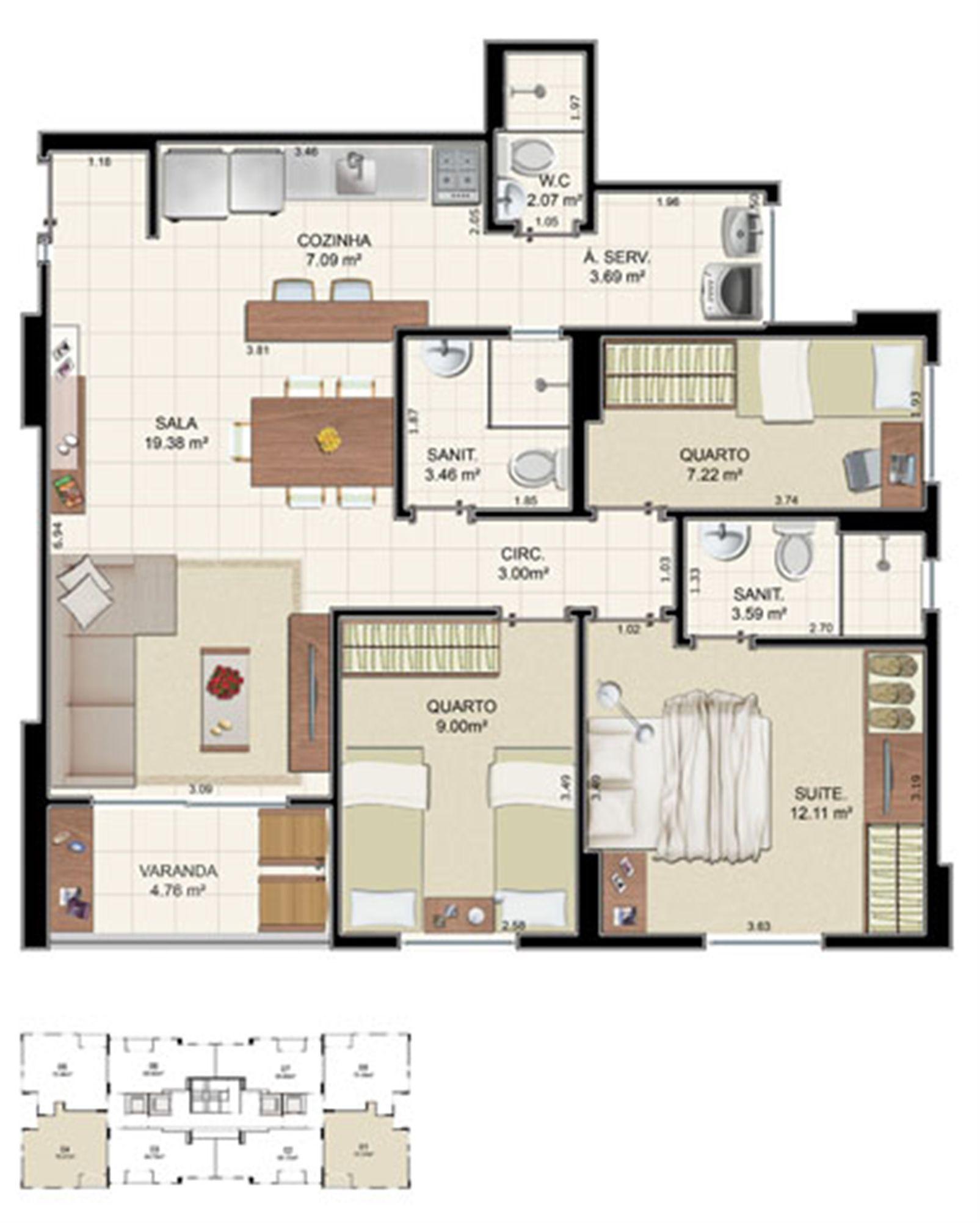 Planta Tipo 3 quartos - 75,37 m² | Morada Alto do Imbuí – Apartamentono  Alto do Imbuí - Salvador - Bahia