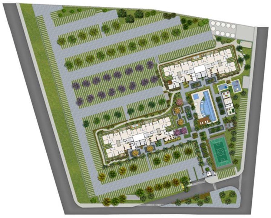 Perspectiva ilustrada da implantação | Sttilo Clube Residence – Apartamentona  Nova Parnamirim - Parnamirim - Rio Grande do Norte
