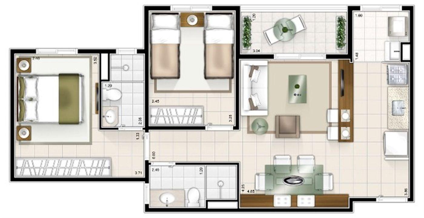 Planta 2 quartos 59m² | Sttilo Clube Residence – Apartamentona  Nova Parnamirim - Parnamirim - Rio Grande do Norte