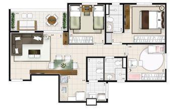 Planta 3 quartos 77m² | Sttilo Clube Residence – Apartamento na  Nova Parnamirim - Parnamirim - Rio Grande do Norte
