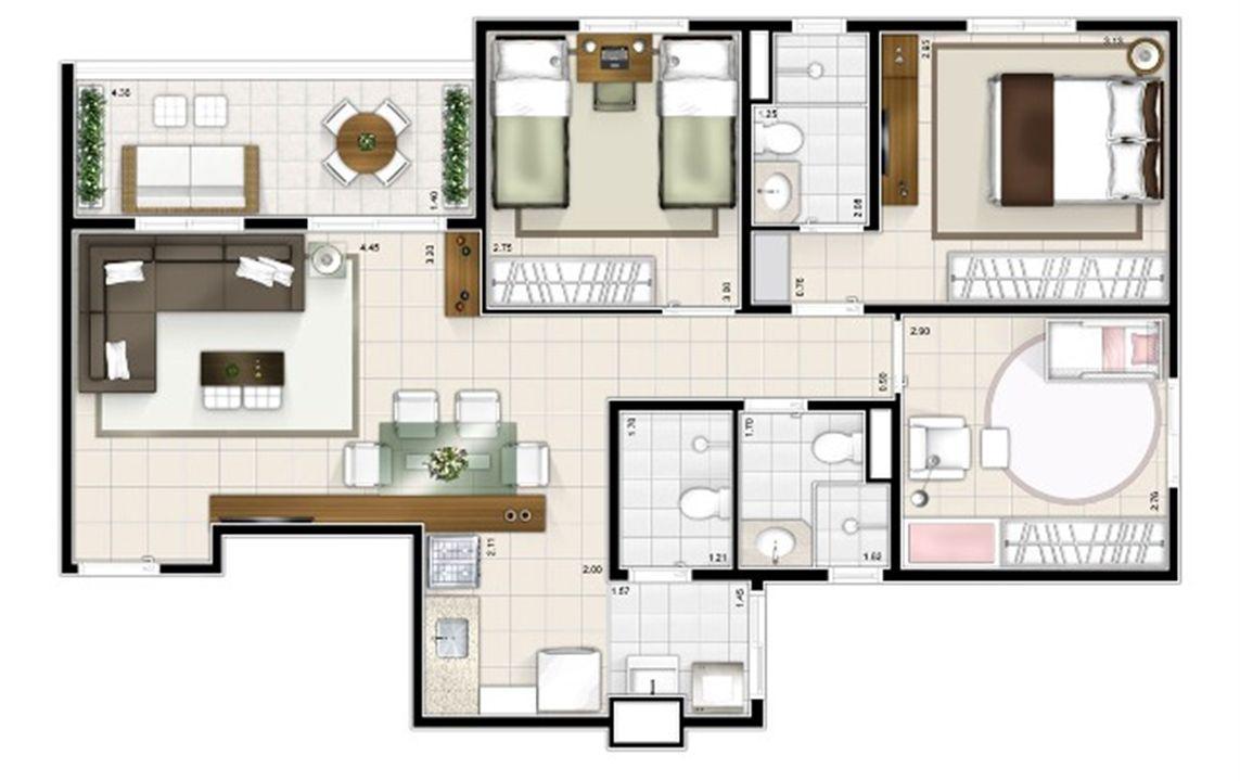 Planta 3 quartos 77m² | Sttilo Clube Residence – Apartamentona  Nova Parnamirim - Parnamirim - Rio Grande do Norte
