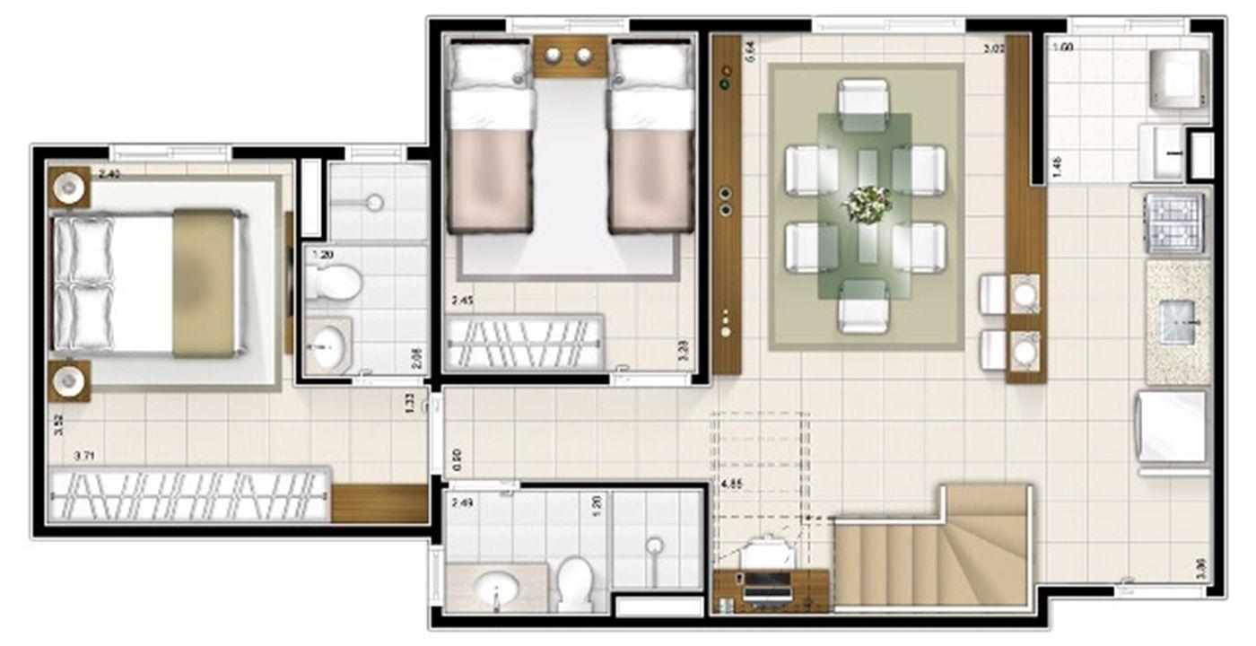 Planta duplex inferior 2 quartos 115m² | Sttilo Clube Residence – Apartamentona  Nova Parnamirim - Parnamirim - Rio Grande do Norte