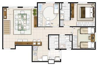 Planta duplex inferior 3 quartos 151m² | Sttilo Clube Residence – Apartamento na  Nova Parnamirim - Parnamirim - Rio Grande do Norte