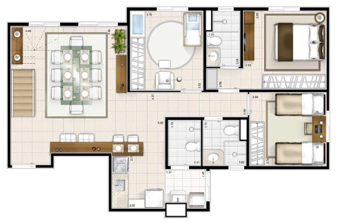 Planta duplex inferior 3 quartos 151m² | Sttilo Clube Residence – Apartamentona  Nova Parnamirim - Parnamirim - Rio Grande do Norte