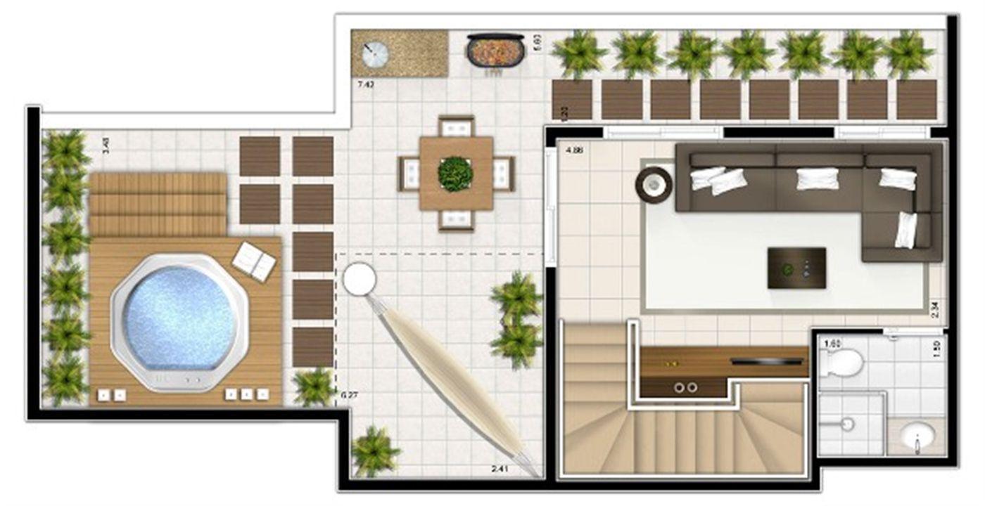 Planta duplex superior 2 quartos 115m² | Sttilo Clube Residence – Apartamentona  Nova Parnamirim - Parnamirim - Rio Grande do Norte