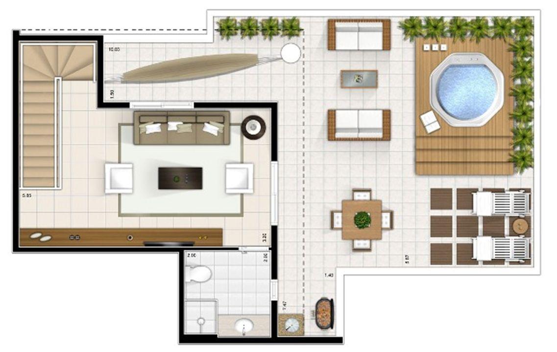 Planta duplex superior 3 quartos 151m² | Sttilo Clube Residence – Apartamentona  Nova Parnamirim - Parnamirim - Rio Grande do Norte
