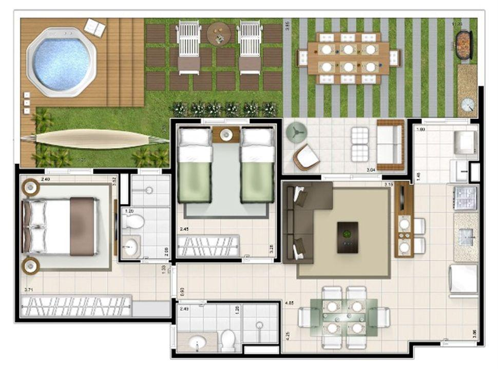 Planta giardino 2 quartos 87m² | Sttilo Clube Residence – Apartamentona  Nova Parnamirim - Parnamirim - Rio Grande do Norte