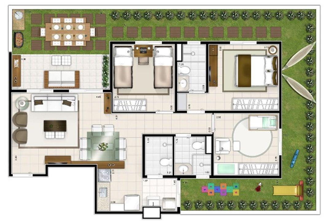 Planta giardino 3 quartos 121m² | Sttilo Clube Residence – Apartamentona  Nova Parnamirim - Parnamirim - Rio Grande do Norte