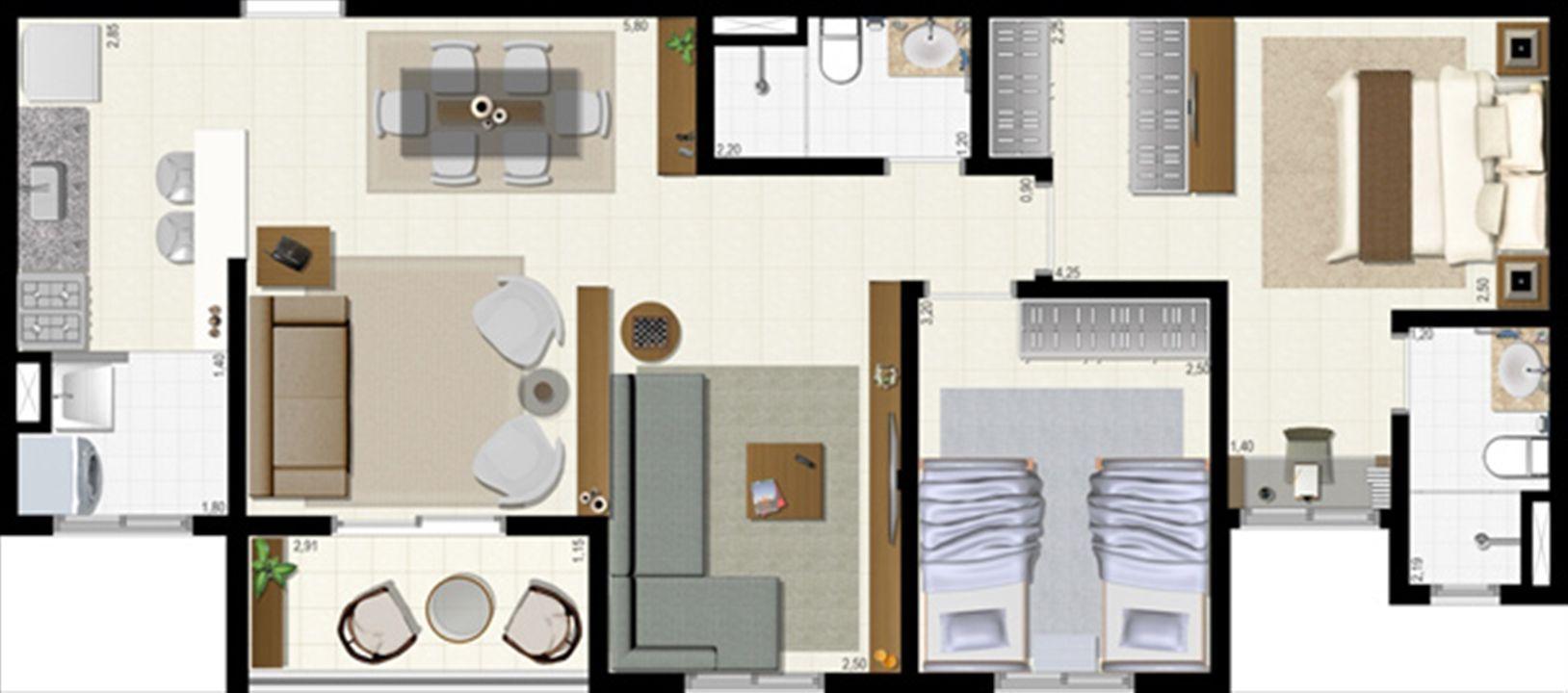 Planta 72 m² - ampliada | L´Acqua Condominium Club – Apartamentoem  Neópolis - Natal - Rio Grande do Norte