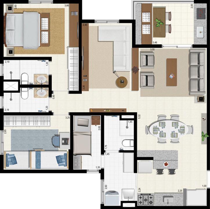 Planta 92 m² - ampliada | L´Acqua Condominium Club – Apartamentoem  Neópolis - Natal - Rio Grande do Norte