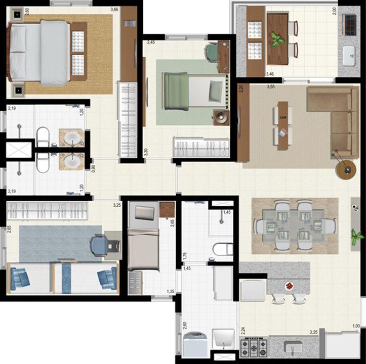 Planta 92 m² | L´Acqua Condominium Club – Apartamentoem  Neópolis - Natal - Rio Grande do Norte