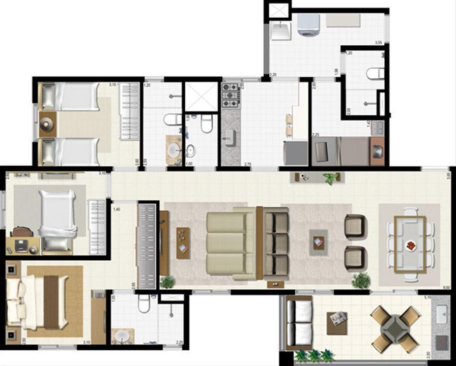 Planta 114 m² - ampliada | L´Acqua Condominium Club – Apartamentoem  Neópolis - Natal - Rio Grande do Norte