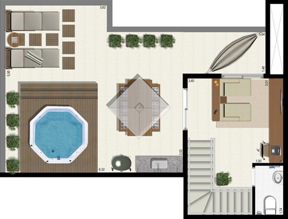 Planta duplex 152 m² - superior | L´Acqua Condominium Club – Apartamentoem  Neópolis - Natal - Rio Grande do Norte