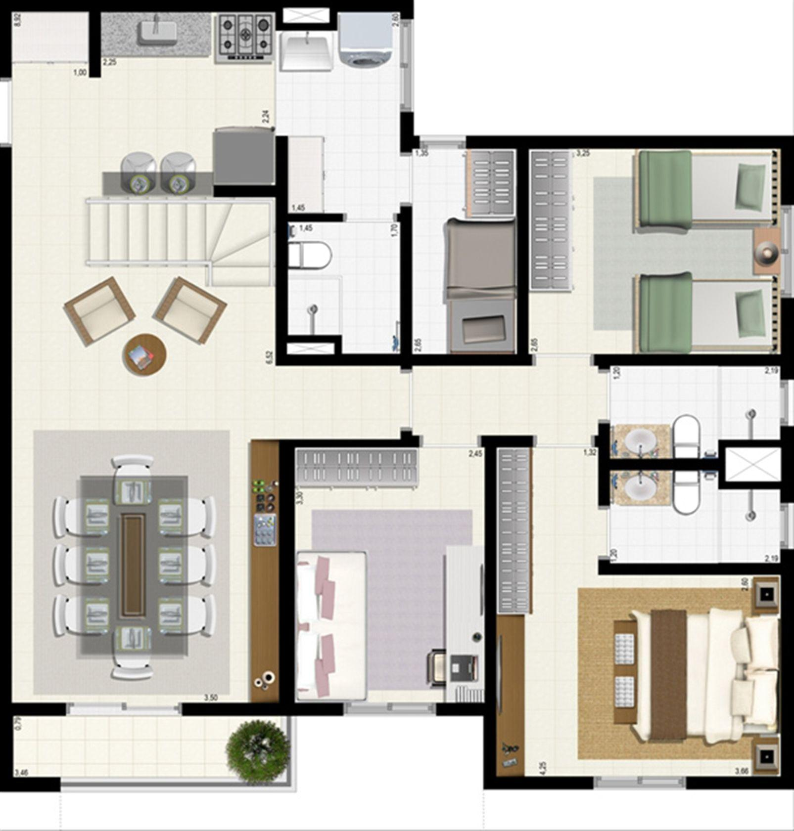 Planta duplex 153 m² - inferior | L´Acqua Condominium Club – Apartamentoem  Neópolis - Natal - Rio Grande do Norte