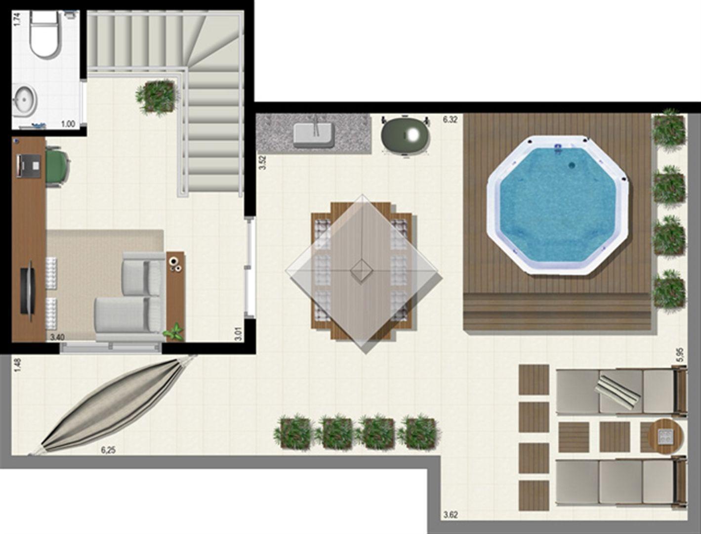 Planta duplex 153 m² - superior | L´Acqua Condominium Club – Apartamento em  Neópolis - Natal - Rio Grande do Norte