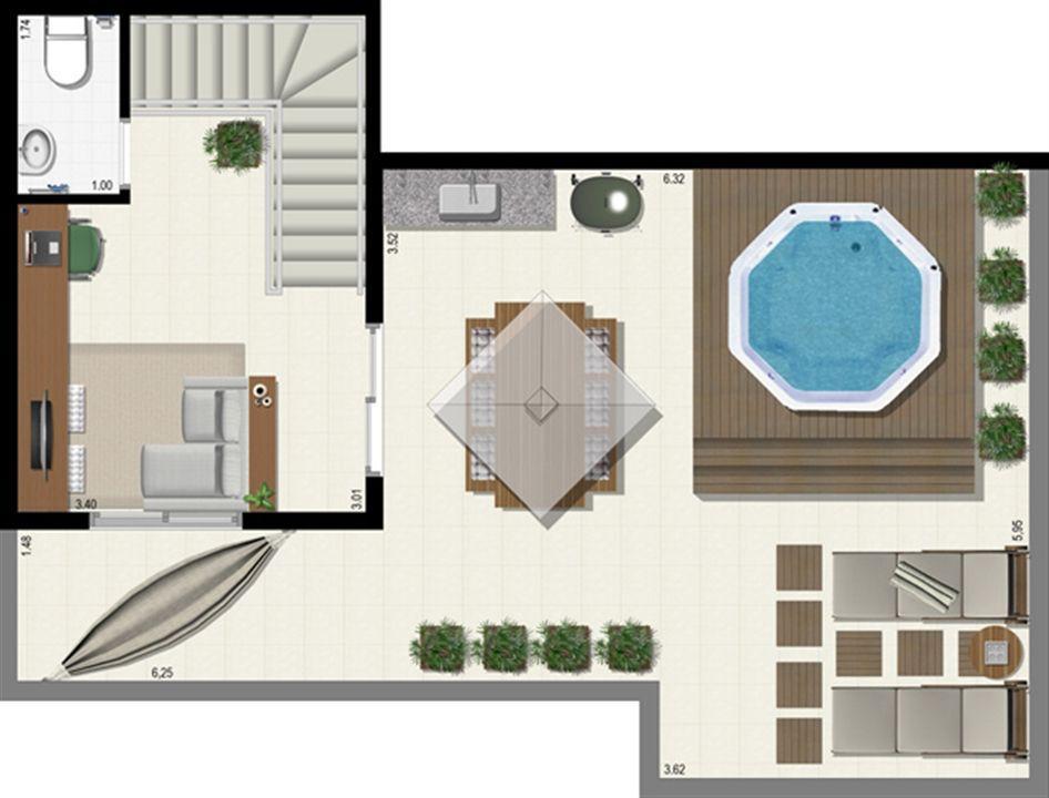 Planta duplex 153 m² - superior | L´Acqua Condominium Club – Apartamentoem  Neópolis - Natal - Rio Grande do Norte