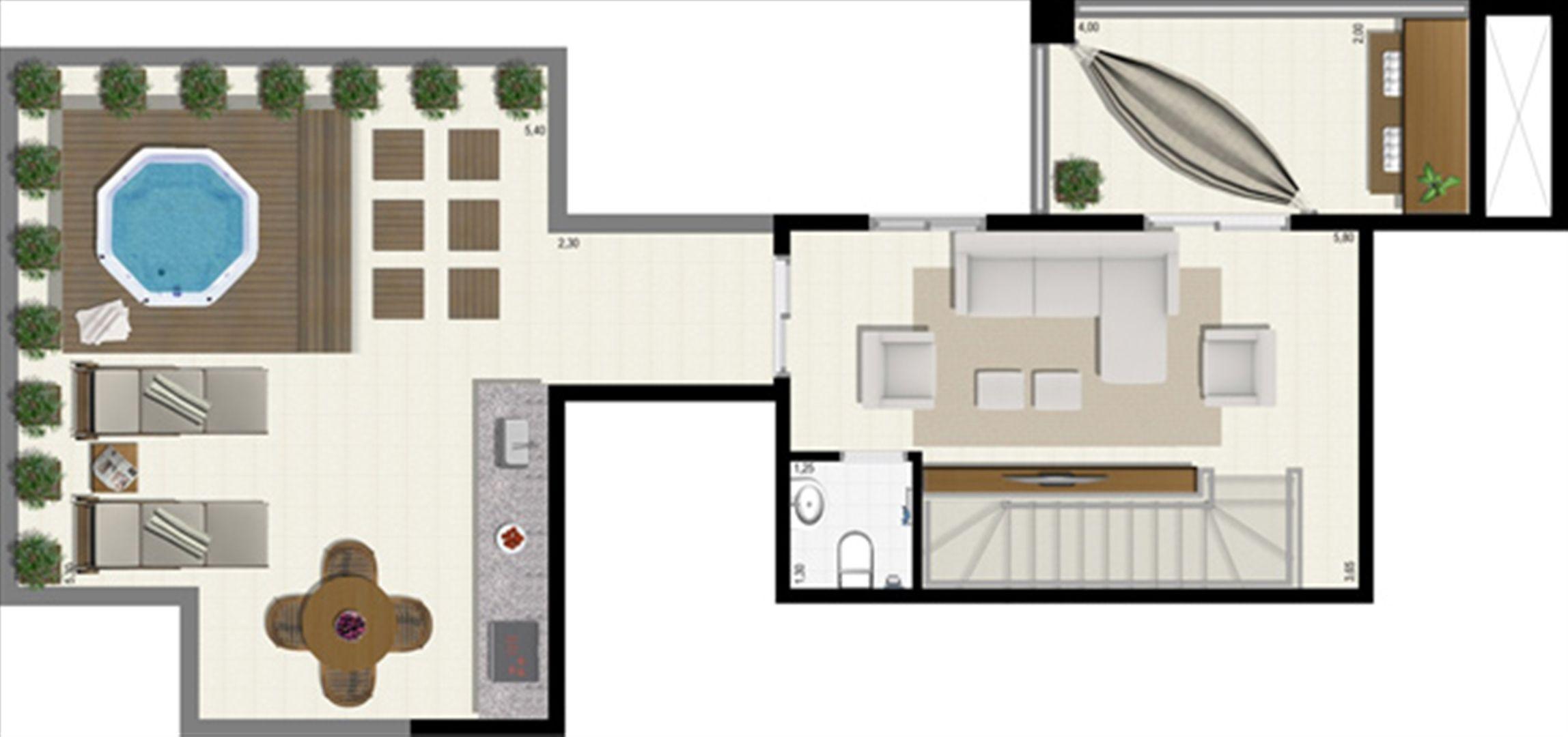 Planta duplex 191 m² - superior | L´Acqua Condominium Club – Apartamentoem  Neópolis - Natal - Rio Grande do Norte