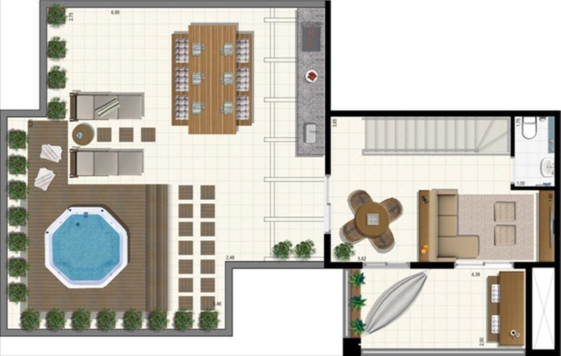 Planta duplex 207 m² - superior | L´Acqua Condominium Club – Apartamentoem  Neópolis - Natal - Rio Grande do Norte