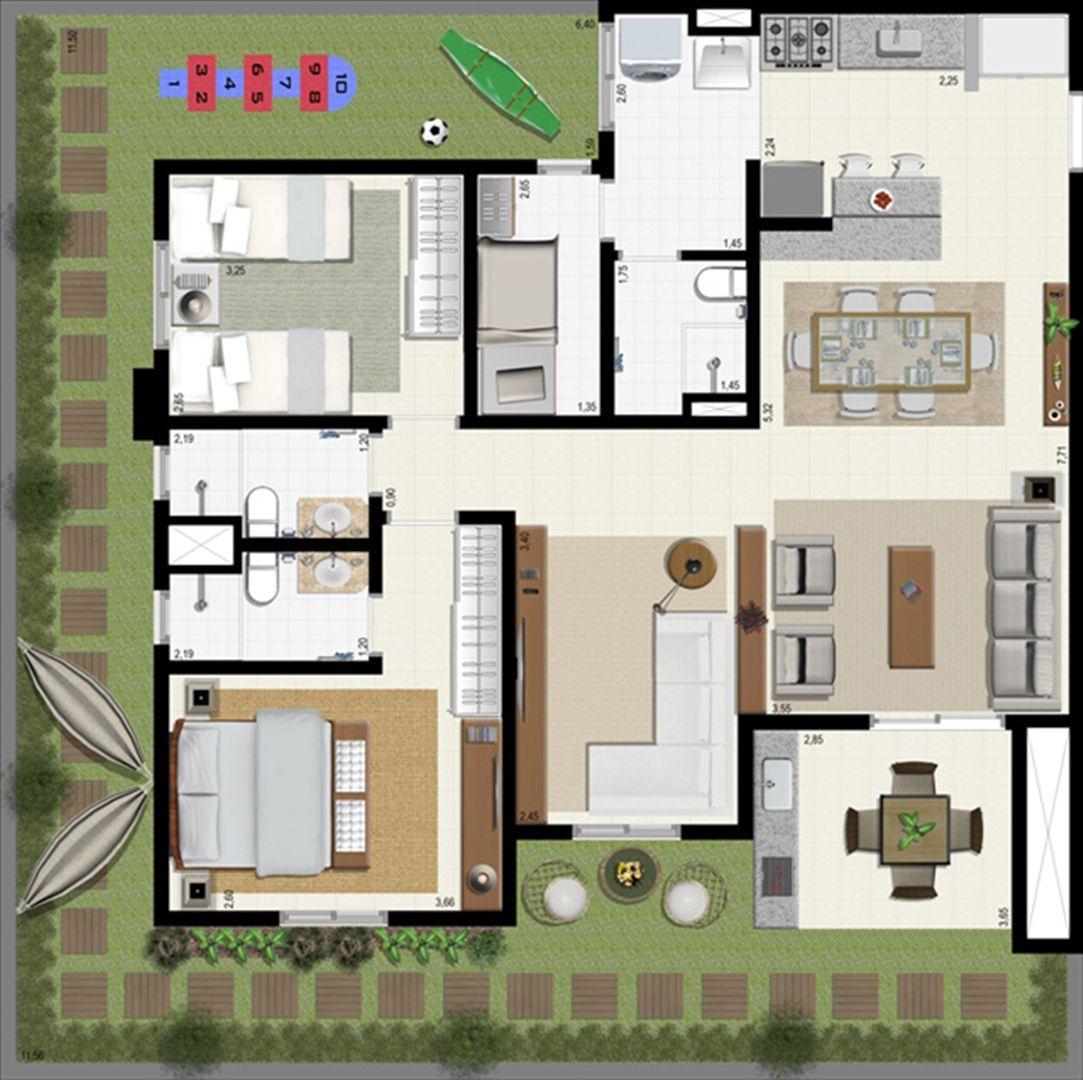 Planta giardino 140 m² - ampliada | L´Acqua Condominium Club – Apartamento em  Neópolis - Natal - Rio Grande do Norte