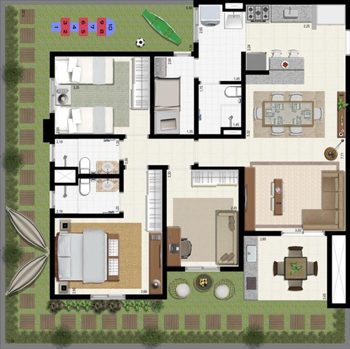 Planta giardino 140 m² B | L´Acqua Condominium Club – Apartamentoem  Neópolis - Natal - Rio Grande do Norte