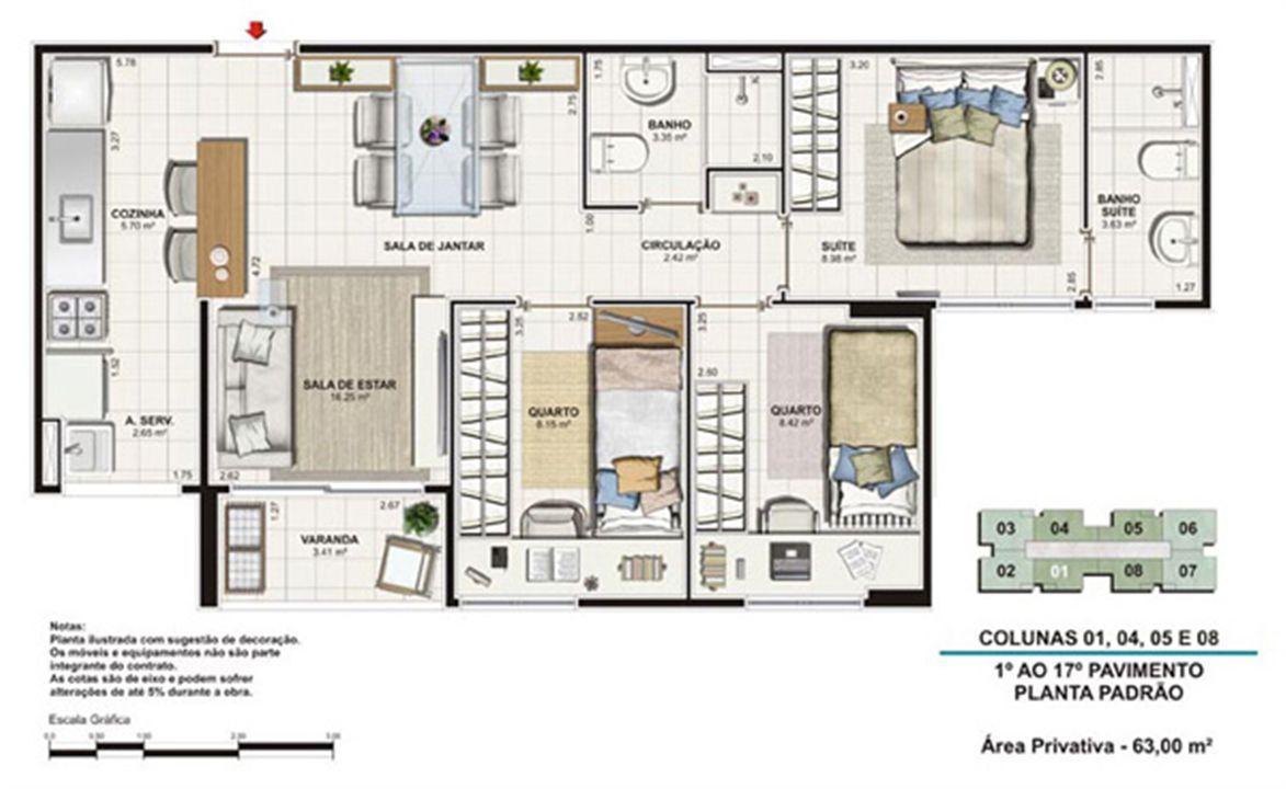 Planta tipo 63 m² | Vita Residencial Clube Recife – Apartamentoem  Imbiribeira - Recife - Pernambuco