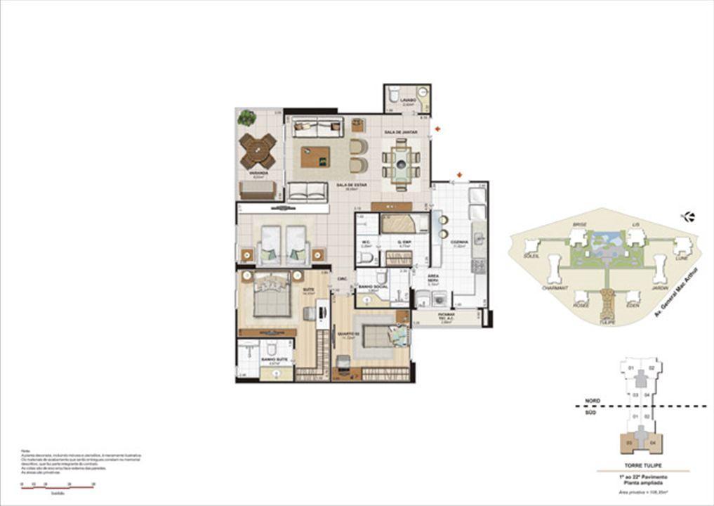 Planta 108,35m² ampliada tulipe  | Le Parc Boa Viagem – Apartamentoem  Boa Viagem - Recife - Pernambuco