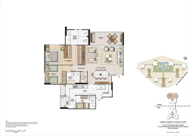 Planta 119,28m² ampliada tulipe, charmant e jardin  | Le Parc Boa Viagem – Apartamento em  Boa Viagem - Recife - Pernambuco