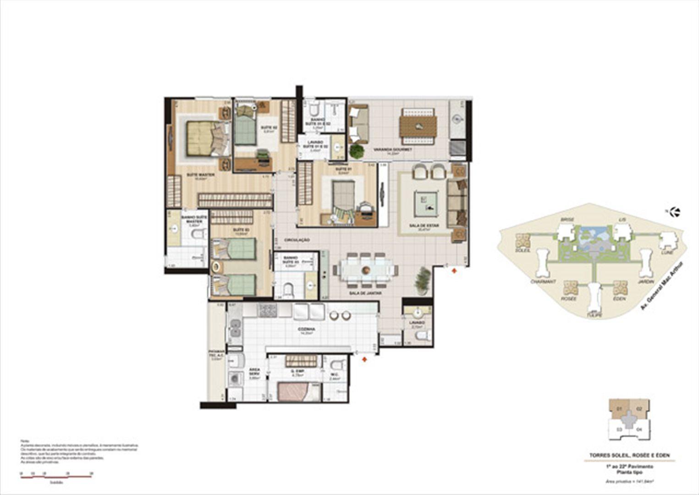 Planta 141,84m² tipo soleil, rosée e éden  | Le Parc Boa Viagem – Apartamento em  Boa Viagem - Recife - Pernambuco