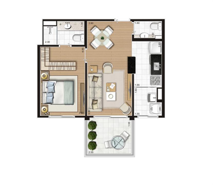 Planta Apartamento - 47m² Privativos | Andalus by Cyrela – Apartamentono  Morumbi - São Paulo - São Paulo