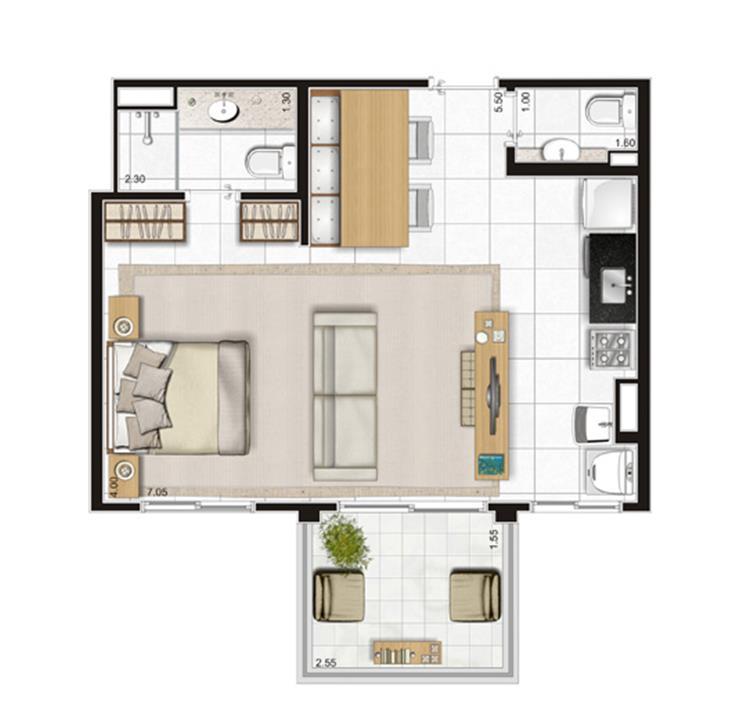 Planta Apartamento  - 47m² Privativos com living ampliado | Andalus by Cyrela – Apartamentono  Morumbi - São Paulo - São Paulo