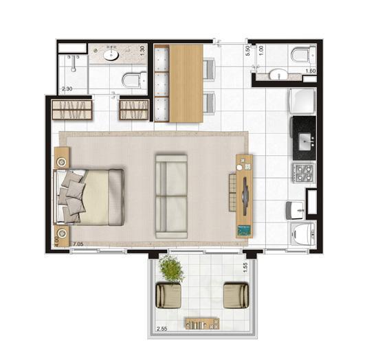 Planta Apartamento  - 47m² Privativos com living ampliado | Andalus by Cyrela – Apartamento no  Morumbi - São Paulo - São Paulo