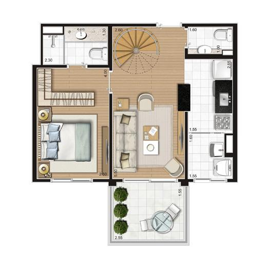 Planta Duplex Inferior - 90,5m² Privativos | Andalus by Cyrela – Apartamento no  Morumbi - São Paulo - São Paulo