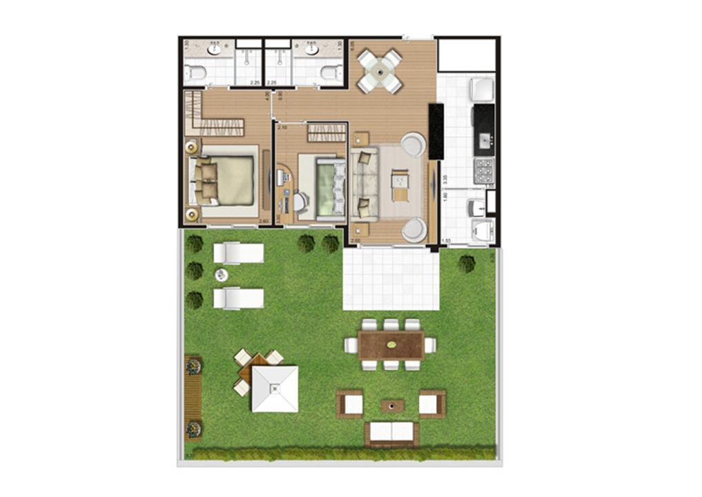 Planta Giardino - 120,5m² Privativos | Andalus by Cyrela – Apartamentono  Morumbi - São Paulo - São Paulo