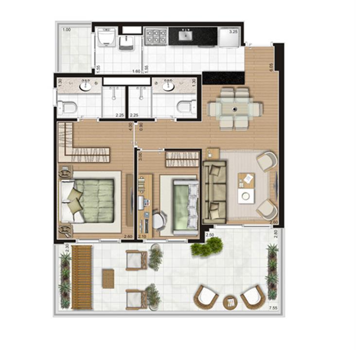 Planta Giardino - 77,5m² Privativos | Andalus by Cyrela – Apartamentono  Morumbi - São Paulo - São Paulo