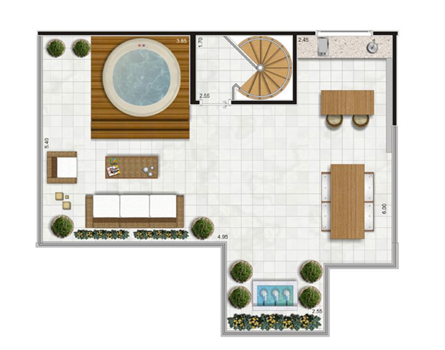 Planta Piso Superior Duplex - 122m² Privativos | Andalus by Cyrela – Apartamentono  Morumbi - São Paulo - São Paulo