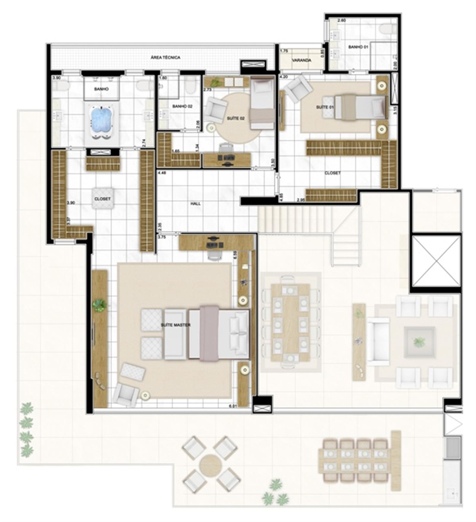 Planta Duplex Superior 406m² | Infinity Areia Preta – Apartamentona  Areia Preta - Natal - Rio Grande do Norte