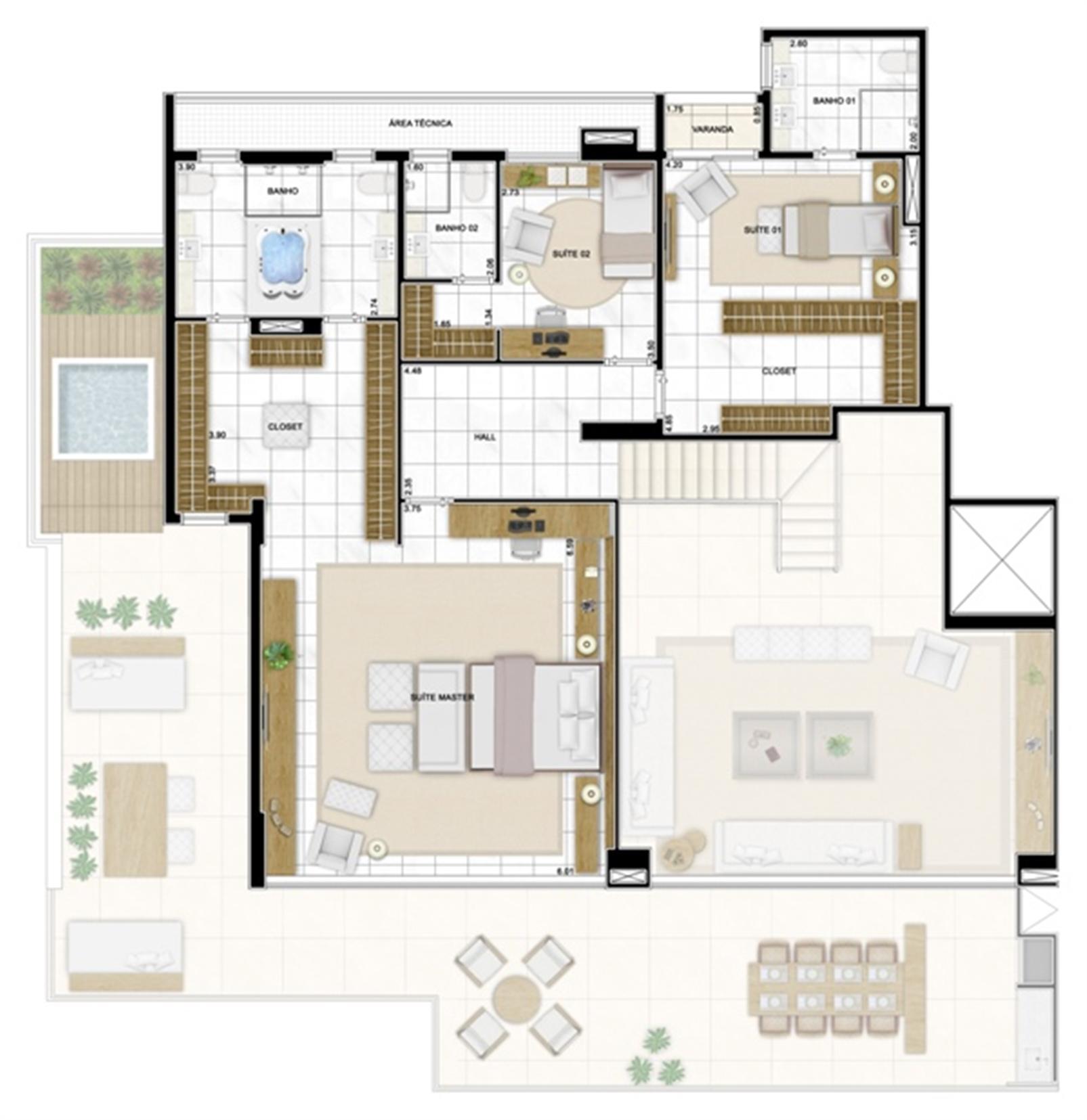Planta Duplex Superior 422m² | Infinity Areia Preta – Apartamentona  Areia Preta - Natal - Rio Grande do Norte