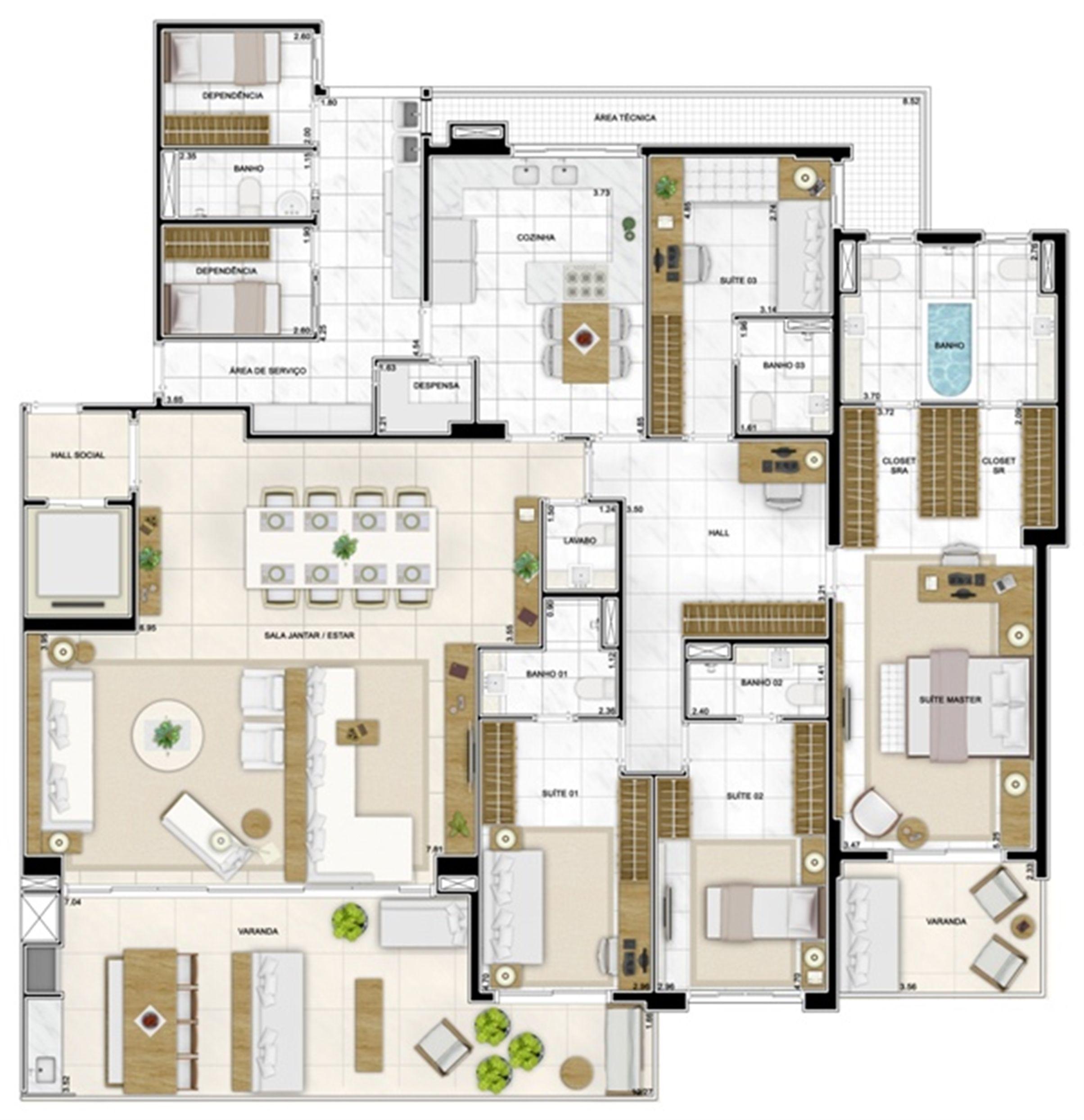 Planta Tipo 282 m² | Infinity Areia Preta – Apartamento na  Areia Preta - Natal - Rio Grande do Norte