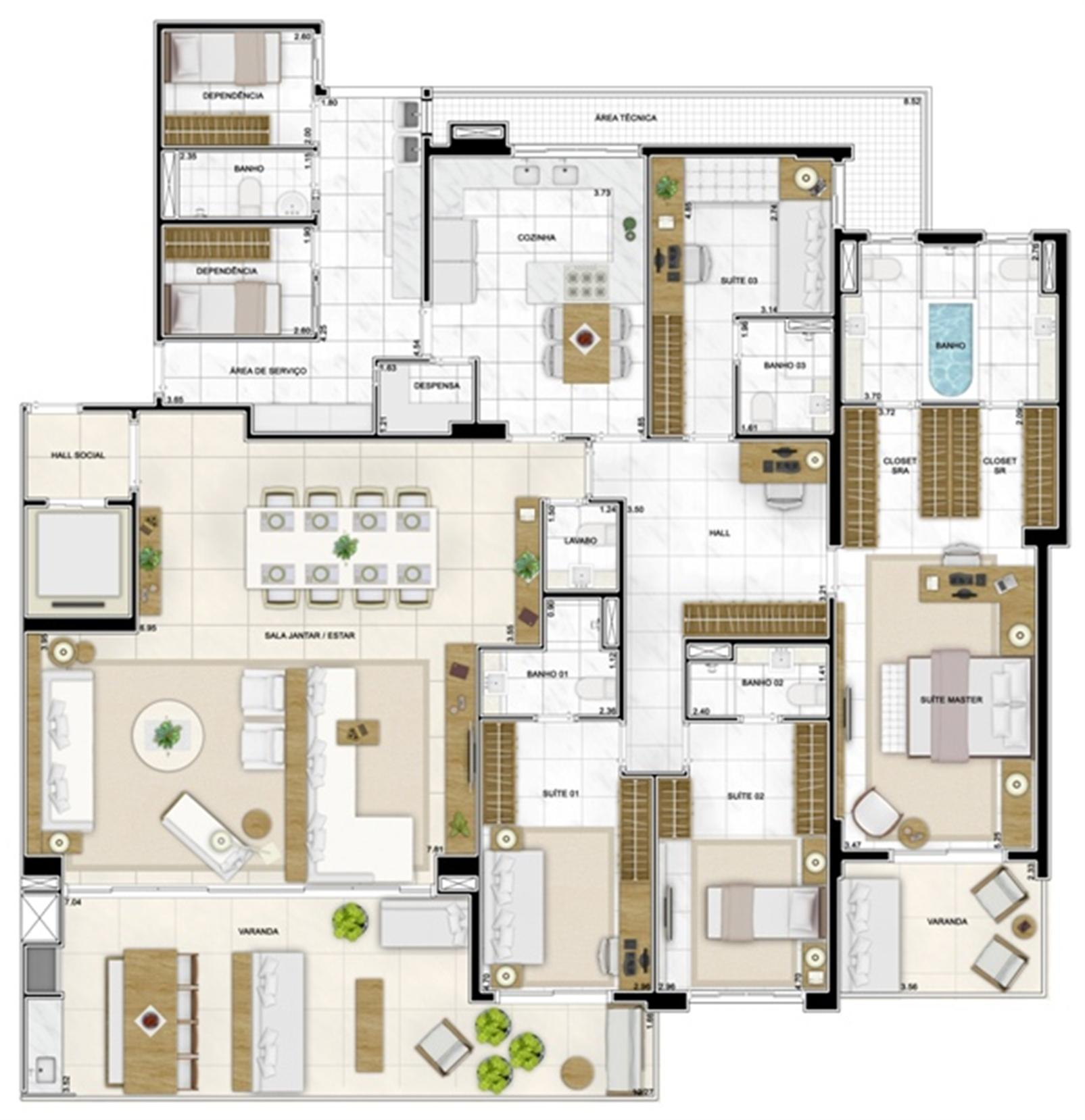 Planta Tipo 282 m² | Infinity Areia Preta – Apartamentona  Areia Preta - Natal - Rio Grande do Norte