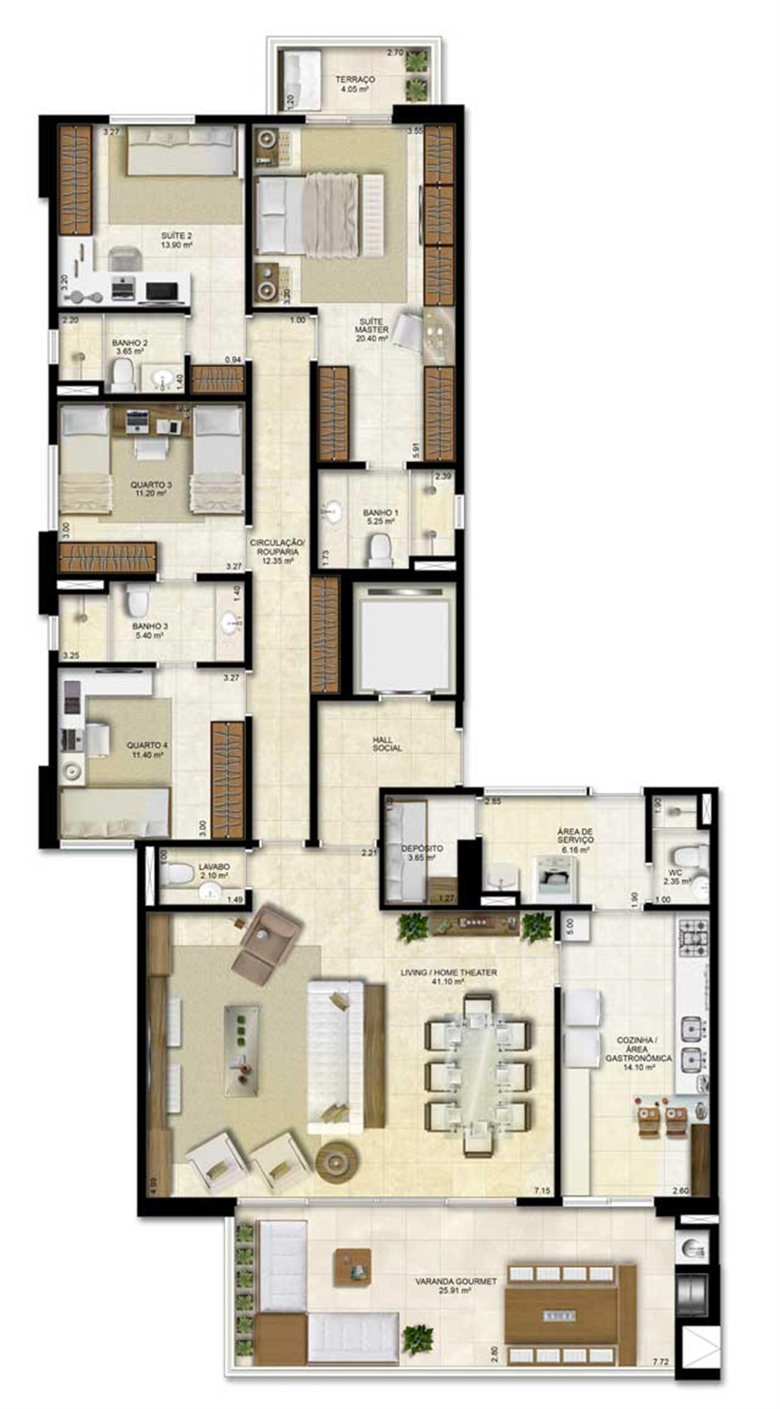 Opção de planta com 4 suítes sendo 2 canadenses - 183 m² de área privativa | Vitrine Umarizal – Apartamentoem  Umarizal  - Belém - Pará