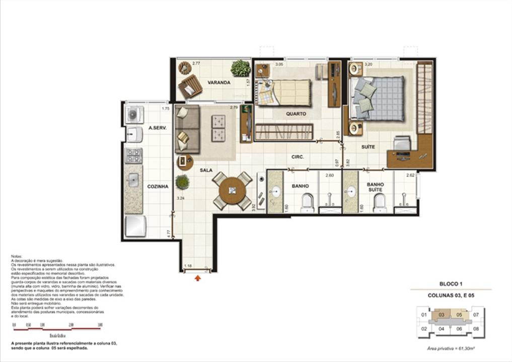 Planta 2 quartos ( 1 suíte) - 61,30m²  | Splendore Family Club – Apartamentoem  Campos - Campos - Rio de Janeiro