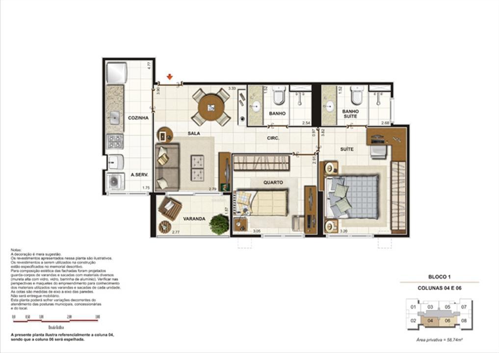 Planta 2 quartos (1suíte) - 58,4m²  | Splendore Family Club – Apartamentoem  Campos - Campos - Rio de Janeiro