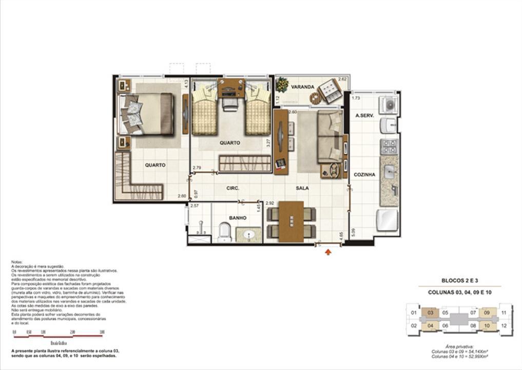 Planta de 2 quartos - 52m² | Splendore Family Club – Apartamentoem  Campos - Campos - Rio de Janeiro