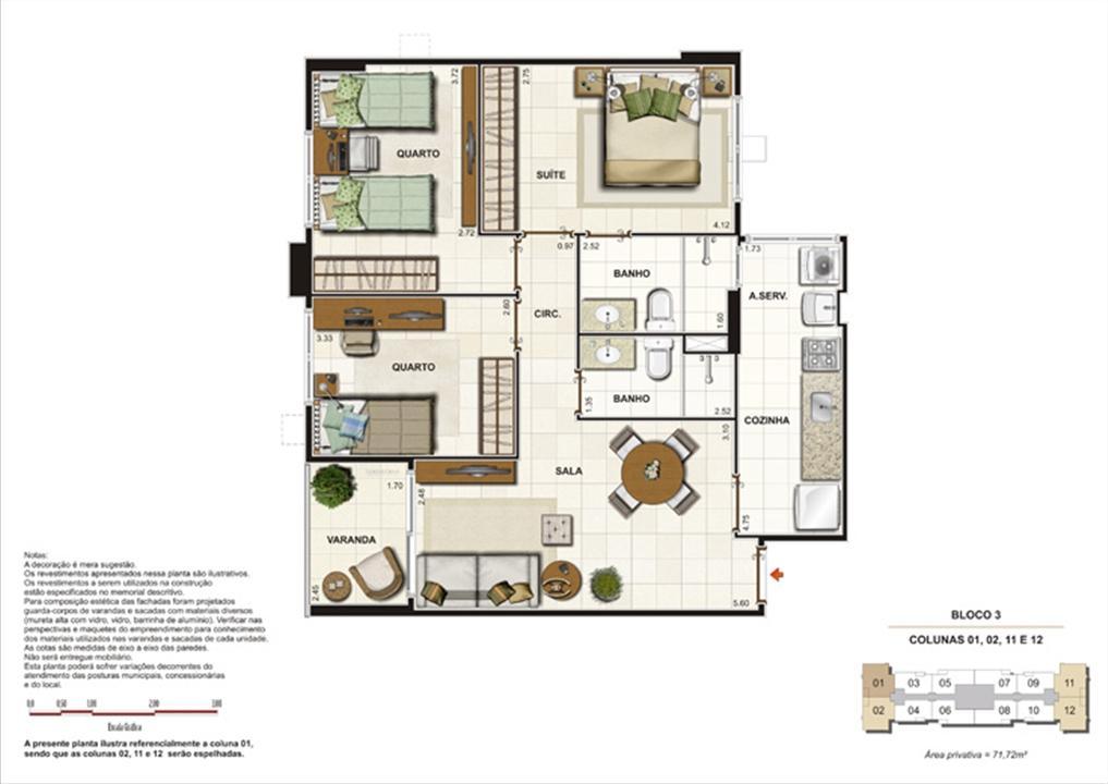 Planta de 3 quartos ( 1 suíte) - 71,72m² | Splendore Family Club – Apartamentoem  Campos - Campos - Rio de Janeiro