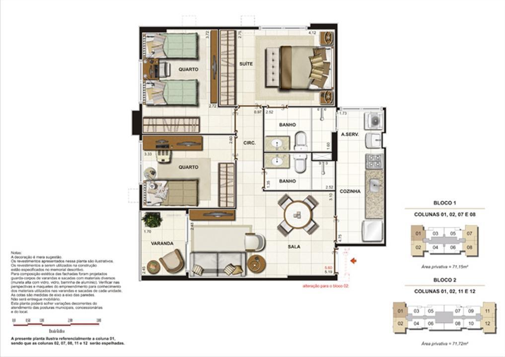Planta de 3 quartos ( 1suíte) - 71,72m²  | Splendore Family Club – Apartamentoem  Campos - Campos - Rio de Janeiro