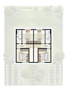 Planta 2 quartos - 1º pavimento - 55 m² - Casa Dupla  | Casas do Bosque – Casa no  Cají - Lauro de Freitas - Bahia