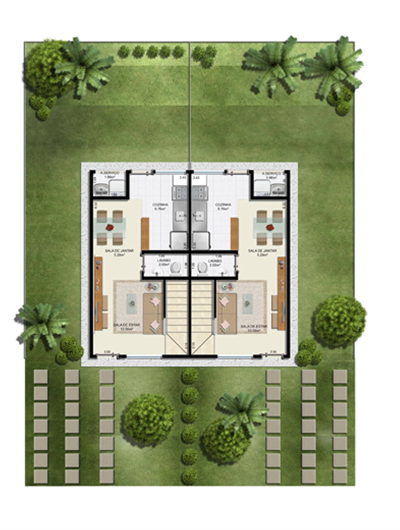 Planta 2 quartos - Térreo - 55 m² - Casa Dupla | Casas do Bosque – Casano  Cají - Lauro de Freitas - Bahia
