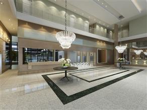 Perspectiva Ilustrada do Lobby com pé-direito Triplo