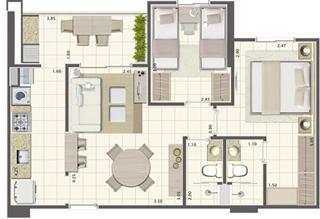 Planta de 2 quartos 58 m²  | Brisas Life – Apartamento em  Altos do Calhau - São Luís - Maranhão