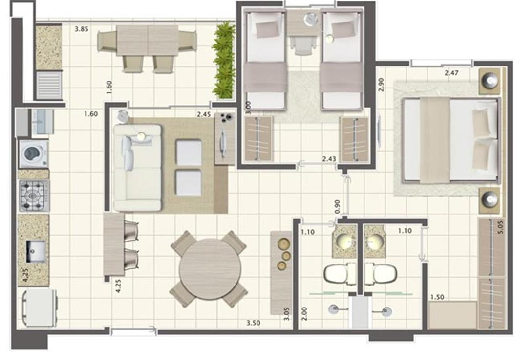 Planta de 2 quartos 58 m²  | Brisas Life – Apartamentoem  Altos do Calhau - São Luís - Maranhão